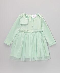 Look at this Green Epaulet Dress - Toddler