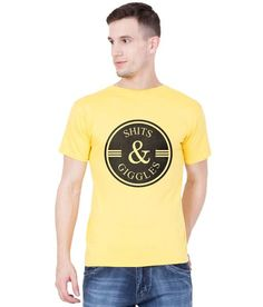 2a1841af41173 American-Elm Yellow Cotton Black Text Printed Half Sleeve T-Shirt For Men
