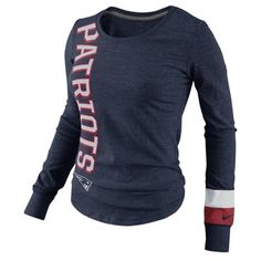 Nike New England Patriots Go Long Ladies Long Sleeve T-Shirt - Navy Blue