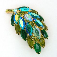 Juliana Style Leaf or Feather Brooch High Dome Aurora Borealis and Green Wide Navettes