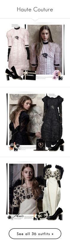"""Haute Couture"" by sella103 ❤ liked on Polyvore featuring Chanel, DressCamp, Fendi, Balenciaga, Oscar de la Renta, ABS by Allen Schwartz, vintage, Valentino, Lancôme and VILA"