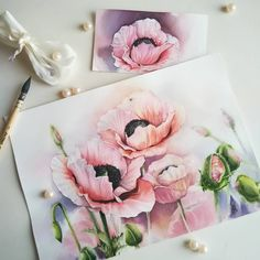 New flowers art drawing galleries 69 ideas Watercolor Poppies, Watercolor Illustration, Watercolour Painting, Watercolours, Art Sketchbook, Botanical Art, Beautiful Paintings, Art Drawings, Drawing Art