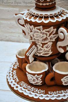 Купить Пряничное чаепитие (самовар и 6 чашек) - пряничный домик, пряник, расписные пряники