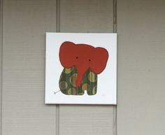 Sitting Elephant #3 Fabric Wall Art by CottonwoodCove on Etsy