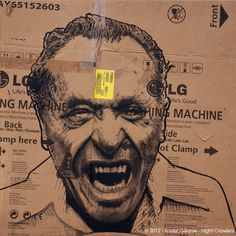 Night Crawlers | Xavier Célanie Washing Machine - portrait de Charles Bukowski Acrylique sur carton 100x100 cm