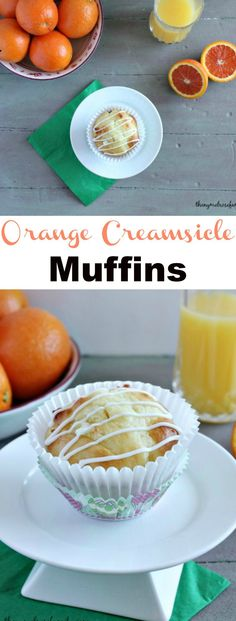 Orange Creamsicle Muffins with white chocolate chips and an orange glaze is the perfect way to start the morning.