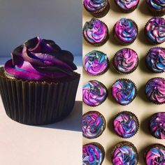 Double chocolate cupcake with Galaxy colored cream cheese frosting. Double chocolate cupcake with Galaxy colored cream cheese frosting Cupcake Cream, Cupcake Frosting, Baking Cupcakes, Fun Cupcakes, Cupcake Cakes, Chocolate Frosting, Chocolate Cupcakes, Galaxie Cupcakes, Galaxy Colors