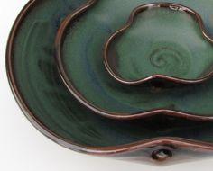 Dark Green Brown Black Ceramic Pottery