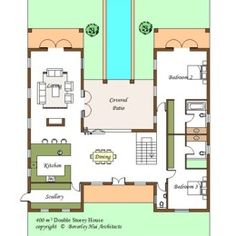 Three bedroom villa plan but maybe only two bedrooms for House plans with pool in the middle
