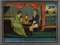 """REVERSE PAINTED FAMILY PORTRAIT OF SHIP'S CAPTAIN. Circa 1821, New England. Reverse painted on glass. Housed in a painted pine frame. Depicting a parlor scene with a mother and father seated with two children studying a book. Father with map and telescope in hand. All within a period room setting, view of landscape through the window. The painting titled """"HAPPINESS/ Painted by D-Gerolimo"""". The original backboard with script writing in black ink, """"James & Elanor Borisch/ July 2th 1821″."""