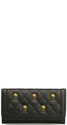 Loungefly Quilted Skull Studs Wallet in Black   Blame Betty