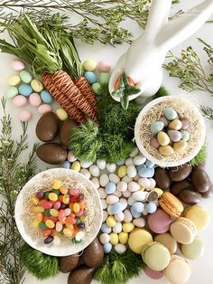 "Look at this gorgeous ""Fresh Spring Confectionery Board"" you guys! Remember the Valentine's Day confectionery board ( aka charcute. Easter Dinner, Easter Table, Easter Brunch, Easter Party, Easter Gift, Easter Decor, Easter Buffet, Easter Centerpiece, Slow Cooker Desserts"