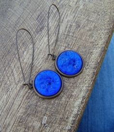 Cobalt Blue Glass Earrings. Olympian Blue. Antiqued French Roast Brass. by tracy.s.boyd