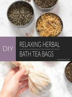 DIY soothing herbal bath tea bag recipe using lemon balm, calendula petals, and peppermint leaves | via Jessoshii.com #DIY #herbal