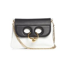 J.W.Anderson Pierce mini leather cross-body bag ($1,480) ❤ liked on Polyvore featuring bags, handbags, shoulder bags, black white, mini handbags, leather crossbody purse, leather shoulder handbags, crossbody purses and leather handbags