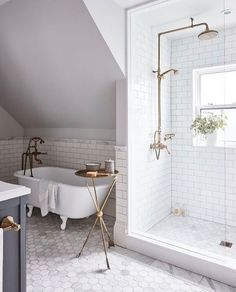 10 Stunning shower ideas of your next bathroom renovation // modern bathroom design Next Bathroom, Upstairs Bathrooms, Bathroom Renos, Attic Bathroom, Gold Bathroom, Bathroom Renovations, Bathroom Vanities, Bathroom Cabinets, Glass Cabinets