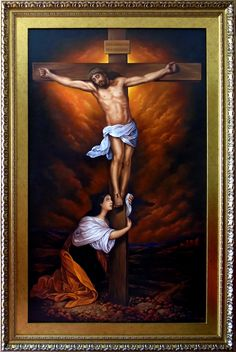 Święta Maria Magdalena pod krzyżem, 150cm x 90cm, Obraz olejny na płótnie