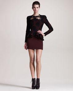 Alexander McQueen Lace-Overlay Peplum Dress at ShopStyle