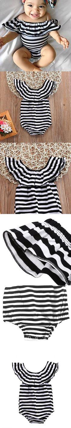 GRNSHTS Baby Girls Black and White Stripes Romper Bodysuit (80 / 3-6 month, Black+white)