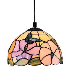 Tiffany Pendant Light with 1 Light Flower And Butterfly Pattern – USD $ 99.99
