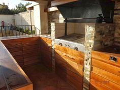 PERGOLAS Y QUINCHOS Outdoor Kitchen Grill, Backyard Kitchen, Outdoor Kitchen Design, Backyard Patio, Outdoor Patio Designs, Bbq Grill, Blessed Mother, Cases, Ideas