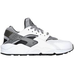 NIKE Huarache Tm Air Sneakers - White/Grey ($140) ❤ liked on Polyvore featuring men's fashion, men's shoes, men's sneakers, shoes, sneakers, nike, huaraches, mens gray dress shoes, mens white leather shoes and mens white sneakers