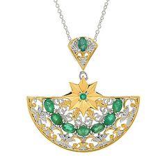 "Gems en Vogue Italy 2.34ctw Emerald Half Circle Pendant w/ 18"" Cable Chain"