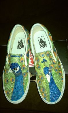 Custom hand done Peacock VANS sneakers with swarovsky accents, by Brolics Design