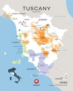 Tuscany wine map. Tasty wines from a pretty special place. Courtesy of Wine Folly.: