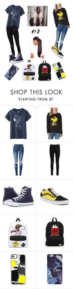 """""""💢Peanuts💢"""" by princess-maggi-lou ❤ liked on Polyvore featuring Uniqlo, Vans, WithChic, Boohoo, Converse, Casetify, Forever 21 and peanuts"""