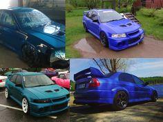 """Kusti pisti Mitsubishi Evo6:n  väriksi BMW:n Laguna Seca Bluen. Auto oli vasta esillä Kalis16 tapahtumassa Kuopiossa. Kustin mukaan väri on """"härski"""":) Auringossa se on vaaleamman sininen ja synkemmällä säällä ihan tumma! Kusti maalaa omaksi ilokseen yleensä 1-2 autoa vuodessa."""