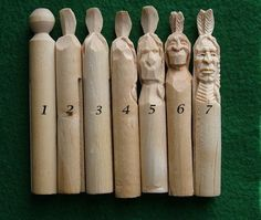 http://woodbeecarver.com/indian-pin-head/indian-pin-head Carving heads into wooden clothes pins is a novel way to practice carving heads and faces since every face carved in never a lost effort because there is always something new to learn.
