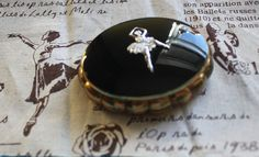 By Kigu of London. Hard to Find Ballet Russe, Yellow Cups, Solid Perfume, Compact Mirror, Marcasite, Black Enamel, Ballerina, Dancing, Vintage Items