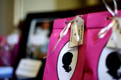 Ava's First Birthday Party bags. Hand-cut Silhouettes by Sylvia