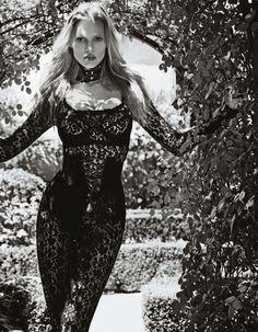 Dominatrix  – mario sorrenti photography, black and white photography, lara stone, vogue japan, dominatrix black lace bodysuit