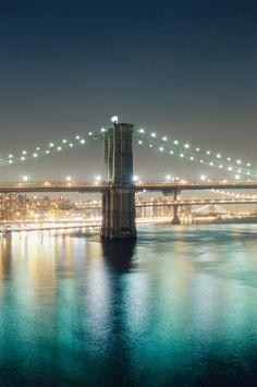 Nightime Brooklyn and Manhattan Bridges