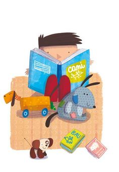 Giuditta Gaviraghi Illustration - giuditta, gaviraghi, guiditta gaviraghi,digital, traditional, commercial, picture book, picturebook, colour, colourful, sweet, cute,  child, boy, , person, figure, reading, book, toys, playing