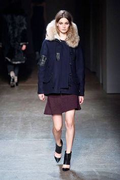 A serious fur collar feels perfect at Yigal Azrouel Fall 2013  #NYFW