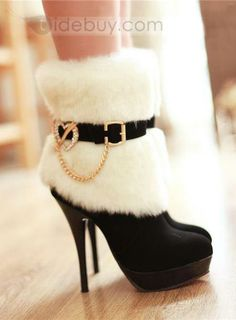 Magnificent Heart Metal Fasteners Cheap Furry Stiletto Heels Women's Boots is part of Stiletto heels boots - Stilettos, Stiletto Heels, Shoes Heels, Pumps, Cute Boots, Sexy Boots, High Heel Boots, Bootie Boots, Women's Boots