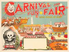 Carnival and Fun Faire, 1000 Smiles an Hour, 1930s Lithographic poster in colors on 1 sheet of wove paper, published by Willsons' Show Printers, Leicester