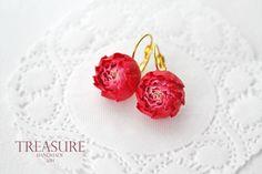 Handmade elegant floral peony earrings red flowers by TreasureAM