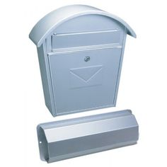 Mailboxes by Colour : Aosta-Set Silver Steel Mailbox + Newspaper Holder
