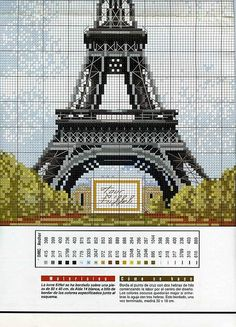 Eiffel Tower cross stitch