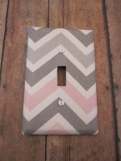 Lilys new room! :) CHEVRON SWITCH PLATE  -  Medium Chevron Switch Plate - Medium ZigZag Switch Plate -Cute for Nursery, Children's Room, Etc.-Gray, Pink,