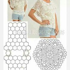 Unit circle crochet pattern top women