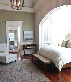 master bedroom: colors, full length closet mirror.