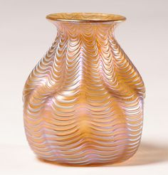 Loetz Iridescent Art Glass Vase Dimpled Body