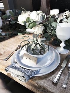 I love to do something a little different for the holiday table. This year it is fairly similar to the color scheme that I used last year with green and cream.