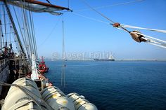 Four masted barque Sedov leaving Port of Aveiro, Portugal, Funchal 500 Race 2008