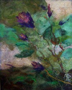 No707 Wildflower  Needlefelt Art XLarge by Deebs on Etsy, $135.00